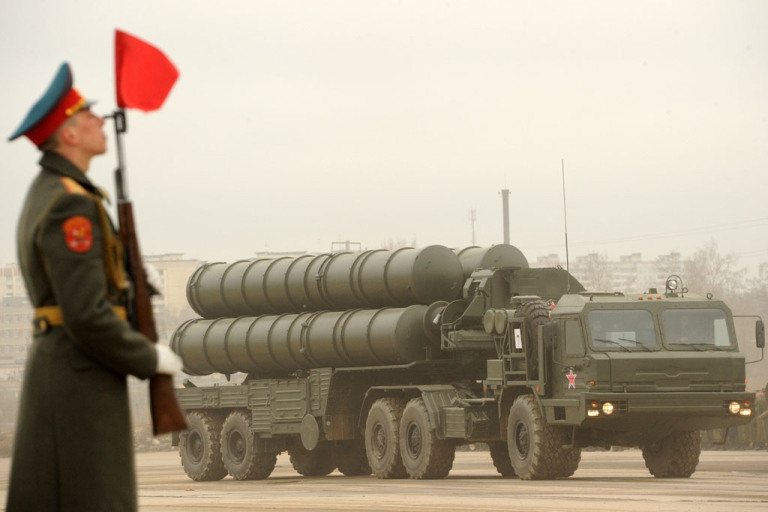 <p>A Russian surface-to-air missile S-300 PMU2 Favorit rolls during a rehearsal of the Victory Day Parade in Alabino, outside Moscow, on April 18, 2012. Reports suggest Russia plans to offer to sell its air defense missile systems to Iran, along with a second nuclear reactor.</p>