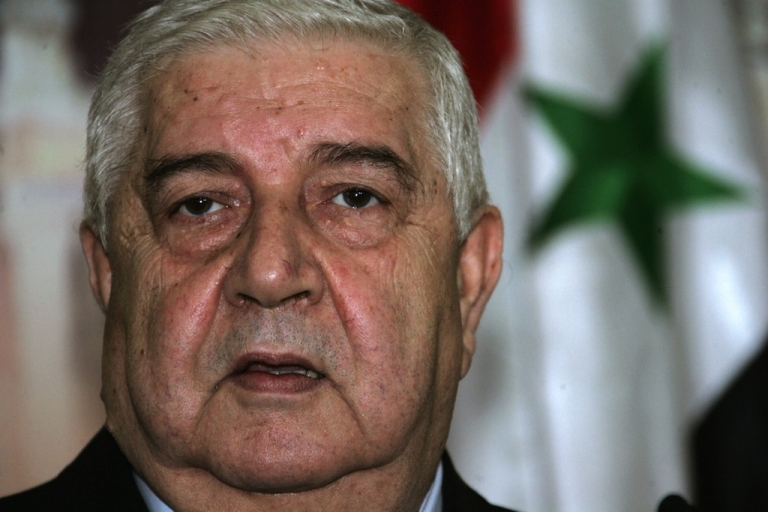 <p>Syrian Foreign Minister Walid Muallem at a press conference with in Damascus on Dec. 12, 2007.</p>