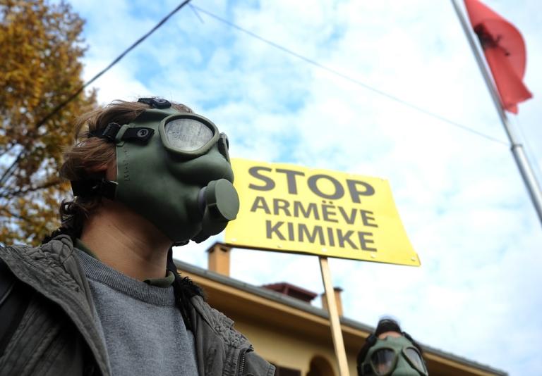 <p>Demonstrators in Skopje call on Albania's government not to allow Syria's chemical weapons to be taken there for destruction, November 14, 2013. Since Albania said no, no other country has offered to take the stockpile in.</p>