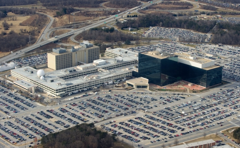 <p>The National Security Agency (NSA) headquarters at Fort Meade, Maryland, as seen from the air, January 29, 2010.</p>