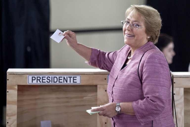 <p>Michelle Bachelet, casting her vote in Chile's election Sunday, is widely expected to win back the presidency.</p>