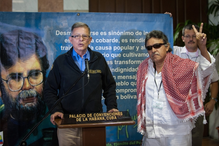 <p>A sign of peace in Colombia's ongoing talks to end a 50-year civil war.</p>