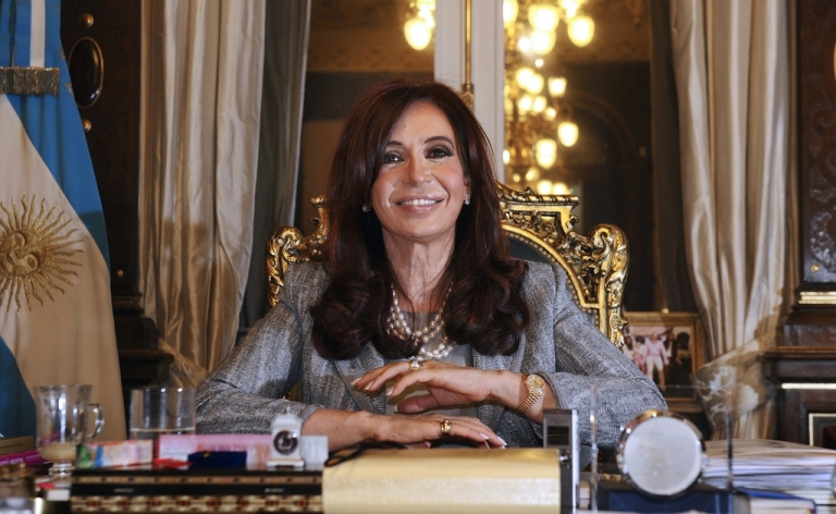 <p>Argentina's President Cristina Fernandez during on Sept. 29, 2010, at the government house in Buenos Aires.</p>