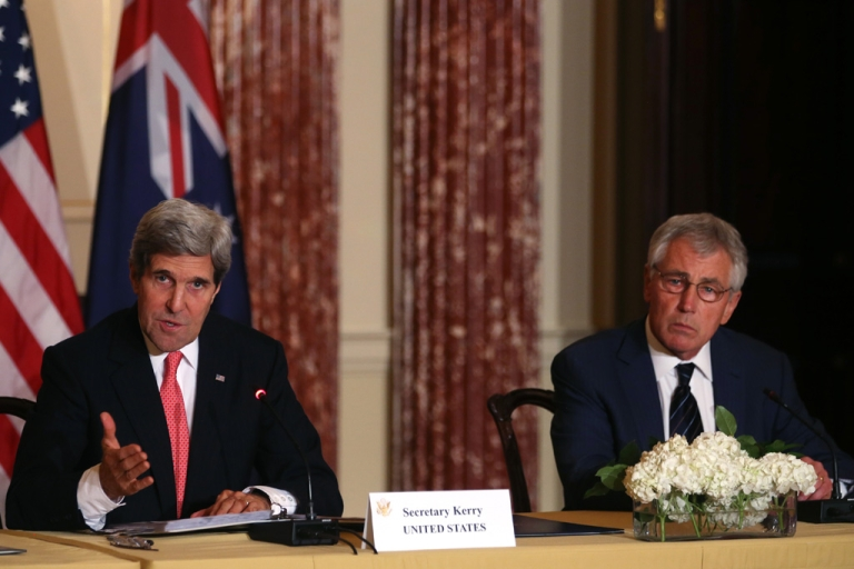 <p>Secretary of State John Kerry, left, speaks about Afghanistan while Defense Secretary Chuck Hagel listens during a news conference at the State Department on November 20, 2013 in Washington, DC.</p>