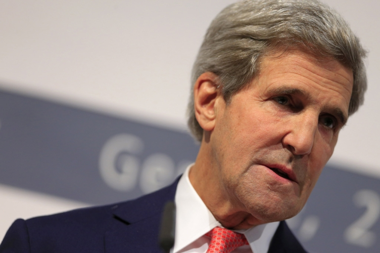 <p>US Secretary of State John Kerry speaks during a press conference at the CICG (Centre International de Conferences Geneve) after a deal over Iran's nuclear program was reached in Geneva on Nov. 24, 2013.</p>