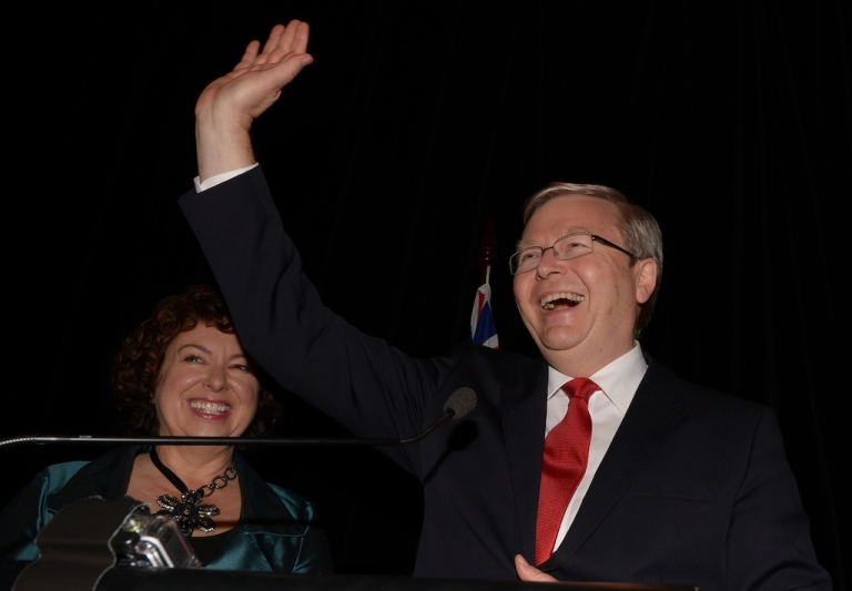 <p>Former Australian Prime Minister Kevin Rudd waves to supporters after conceding defeat in the general election on Sept. 7, 2013.</p>