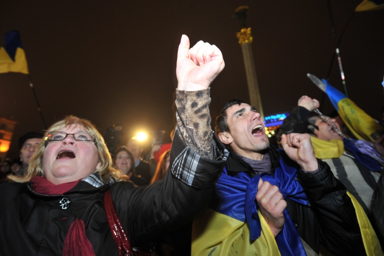 <p>Pro-European activists on Independence Square on Friday.</p>