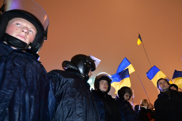 <p>Riot police at a pro-European protest in Kiev on Nov. 22, 2013 following the Ukraine government's decision to delay signing a landmark free trade agreement with the EU.</p>