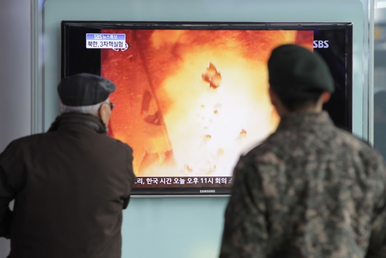 <p>People watch a television broadcast reporting the North Korea's nuclear test at the Seoul Railway station on February 12, 2013 in Seoul, South Korea. North Korea confirmed it had successfully carried out an underground nuclear test, as a shallow earthquake with a magnitude of 4.9 was detected by several international monitoring agencies.</p>