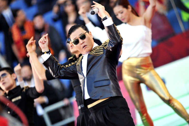 <p>Psy performs 'Gangnam Style.'</p>