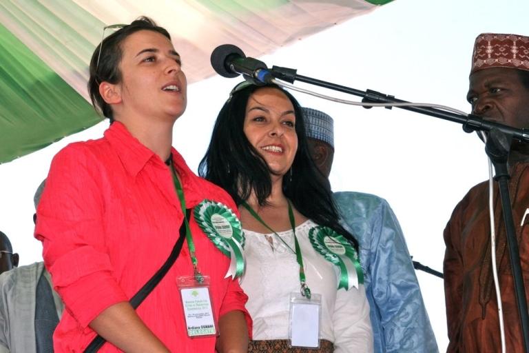<p>Ardiana Osmani of Mitrovica, Kosovo speaking before the opening ceremony in Kaduna, Nigeria.</p>