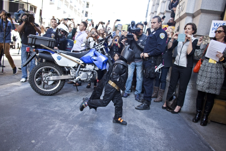 <p>Five-year-old leukemia survivor Miles, also known as BatKid runs into a former bank vault to arrest the Riddler on November 15, 2013 in San Francisco. Make-A-Wish Greater Bay Area foundation turned the city into Gotham City for Miles by creating a day long event to bring his wish to be a BatKid to life.</p>