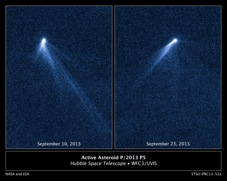 <p>This NASA Hubble Space Telescope set of images reveals a never-before-seen set of six comet-like tails radiating from a body in the asteroid belt, designated P/2013 P5.The asteroid was discovered as an unusually fuzzy-looking object with the Panoramic Survey Telescope and Rapid Response System (Pan-STARRS) survey telescope in Hawaii. The multiple tails were discovered in Hubble images taken on Sept. 10, 2013. When Hubble returned to the asteroid on Sept. 23, the asteroid's appearance had totally changed. It looked as if the entire structure had swung around.</p>