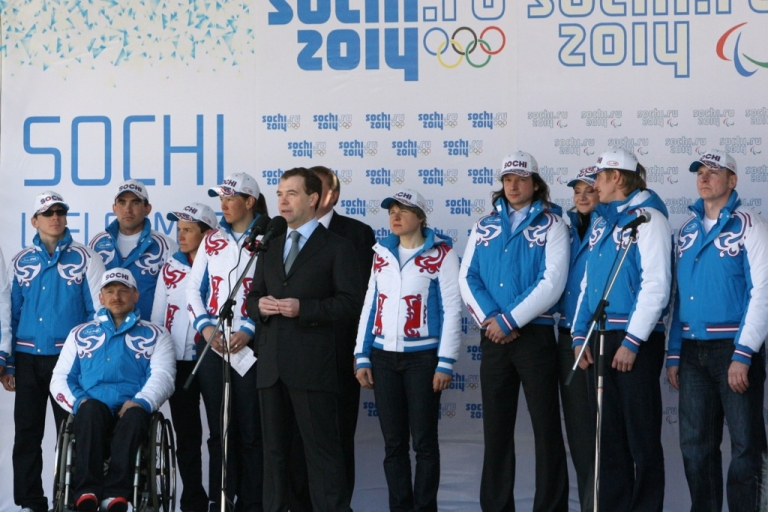 <p>Russia's then-President Dmitry Medvedev spoke during a ceremony in Sochi on March 26, 2010 with members of the Russian winter Paralympics team. The Black Sea resort city of Sochi will host the 2014 Winter Olympic and Paralympic games.</p>
