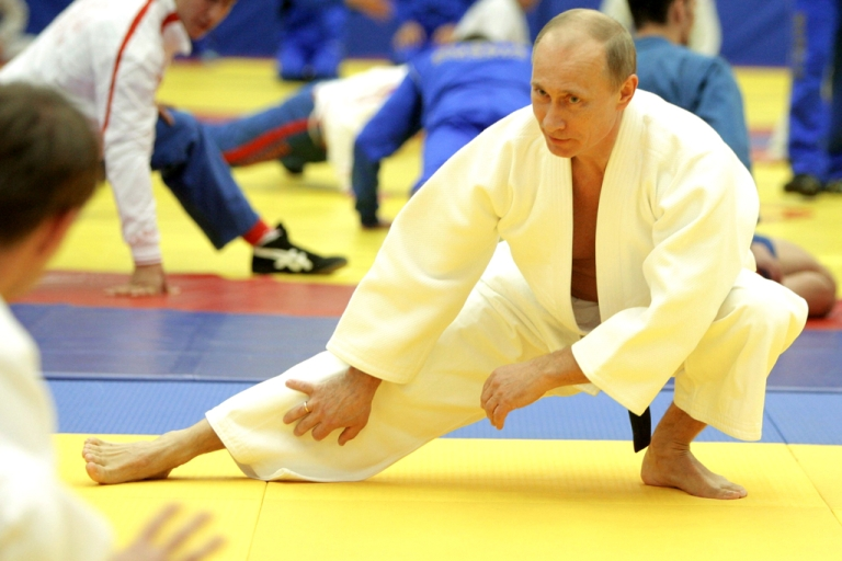 <p>Russian Prime Minister Vladimir Putin takes part in a judo training session in St. Petersburg on Dec. 22, 2010.</p>