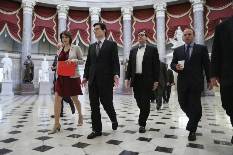 <p>House Republicans walk through Statuary Hall on his way to the floor of the House of Representatives during the 11th day of the federal government partial shutdown at the U.S. Capitol October 11, 2013 in Washington, DC.</p>