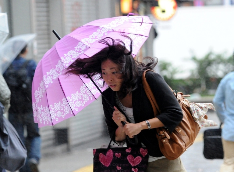 <p>A woman walks against strong wind and rain in Tokyo from Typhoon Wipha on October 16, 2013.</p>