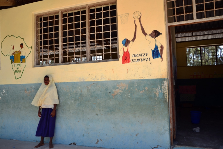 <p>A pupil stands in the courtyard of a school on January 8, 2013 in Zanzibar, Tanzania.</p>