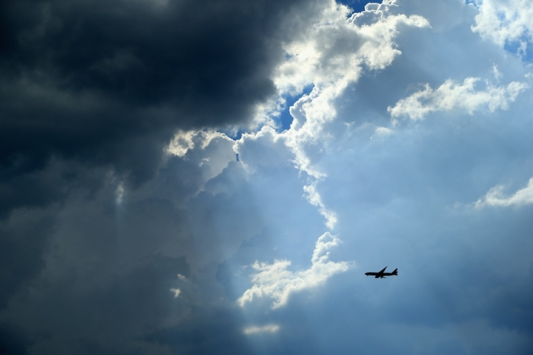 <p>An airplane in the skies of Johannesburg, South Africa.</p>