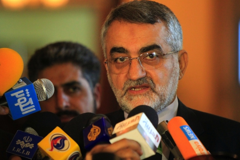 <p>Alaeddin Boroujerdi, Chairman of Iran's Parliament Committee of National Security and Foreign Policy, talks to journalists on Aug. 9, 2011.</p>