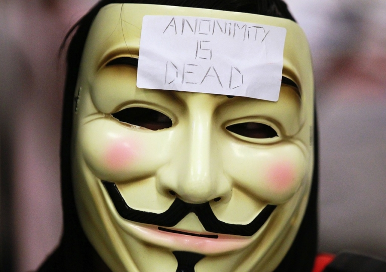 <p>A demonstrator wears a mask on Aug. 15, 2011 in San Francisco, California.</p>