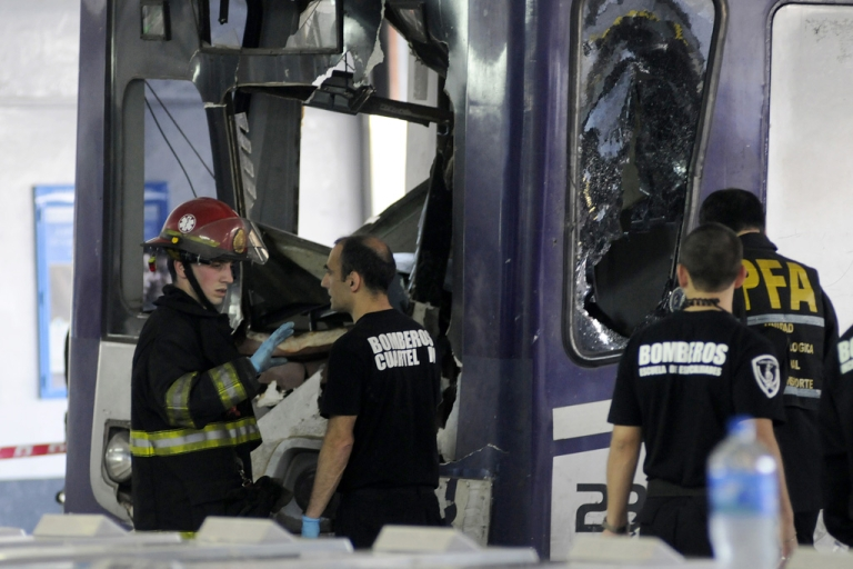 <p>The commuter train apparently failed to stop and crashed at the end of the line at the Once railway terminal in Buenos Aires, Oct. 19, 2013.</p>