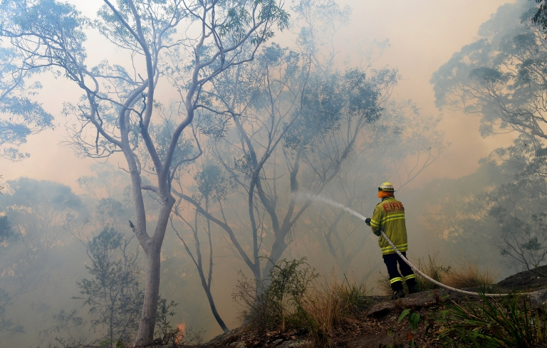 <p>A firefighter hoses down the flames at Faulconbridge in the Blue Mountains on October 22, 2013.</p>