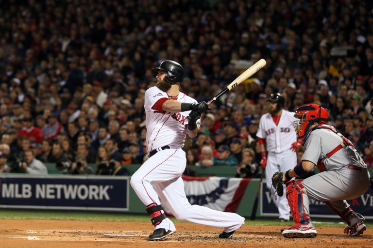 <p>Mike Napoli of the Boston Red Sox hits a three run double against the St. Louis Cardinals during Game 1 of the World Series on Oct. 23 at Fenway Park in Boston.</p>