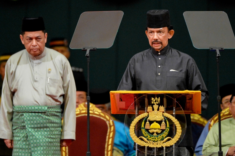 <p>Brunei Sultan Hassanal Bolkiah (R) delivers his speech during the official opening of the Majlis Ilmu 2013 in Bandar Seri Begawan on October 22, 2013.</p>