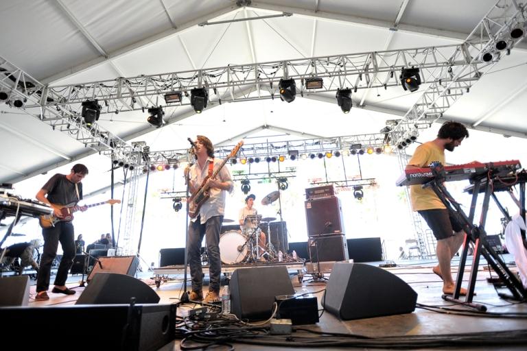 <p>Spain's dance-pop band Delorean play at the Coachella music festival in Indio, Calif.</p>