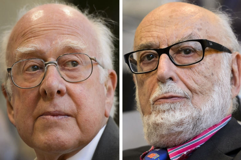 <p>British theoretical physicist Peter Higgs (L) and Belgian theoretical physicist Francois Englert were awarded laureates of the 2013 Nobel Prize in Physics on October 8, 2013 at the Nobel Assembly at the Royal Swedish Academy of Sciences in Stockholm.</p>