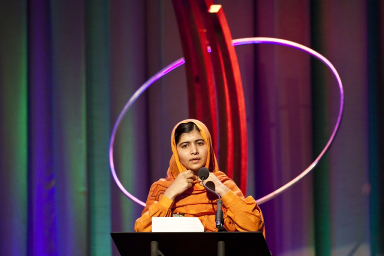 <p>Malala Yousafzai speaks after receiving the Leadership in Civil Society award at the annual Clinton Global Initiative (CGI) award ceremony on September 25, 2013 in New York City.</p>