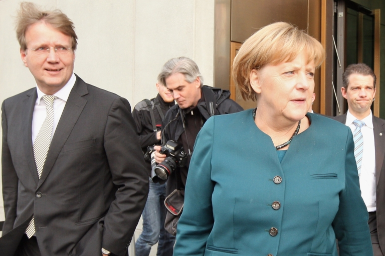 <p>Early days? Merkel after coalition talks between the SPD and CDU.</p>