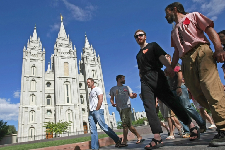 <p>A protest outside the Mormon Temple on the Main Street Plaza in Salt Lake City, Utah, July 12, 2009.</p>