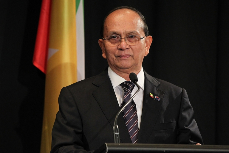 <p>President U Thein Sein of Myanmar, pictured meets with New Zealand Prime Minister John Key on March 15, 2013 in Auckland, New Zealand.</p>