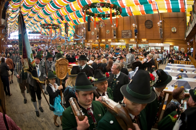 <p>A beer-tent on the last day of Oktoberfest 2013 at Theresienwiese in Munich, Germany, Oct. 6, 2013.</p>