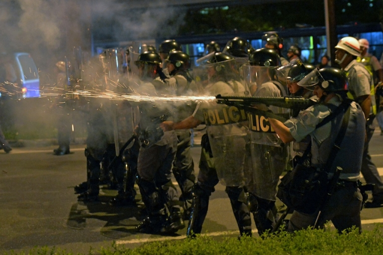 <p>Riot police clash with demonstrators during the Teachers' Day protest on October 15, 2013, in São Paulo, Brazil.</p>