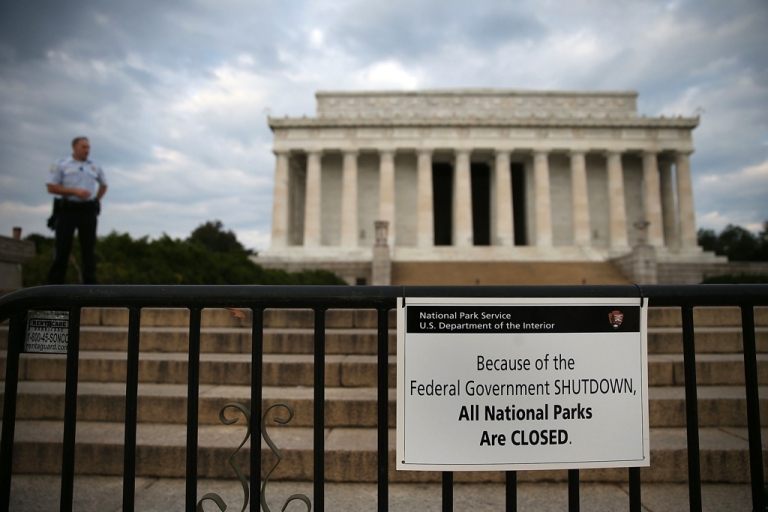 <p>Lincoln Memorial, closed for congressional gridlock.</p>