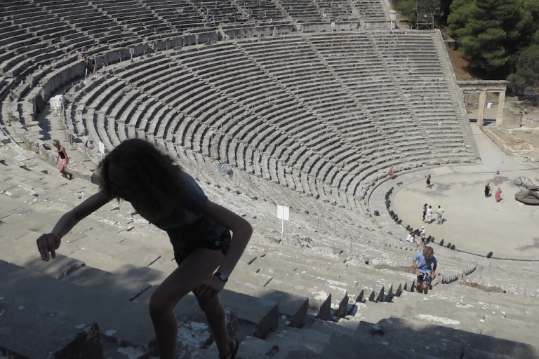<p>Visitors explore the former theatre at the ancient archeological site of Epidaurus on July 31, 2012 in Epidaurus, Greece.</p>