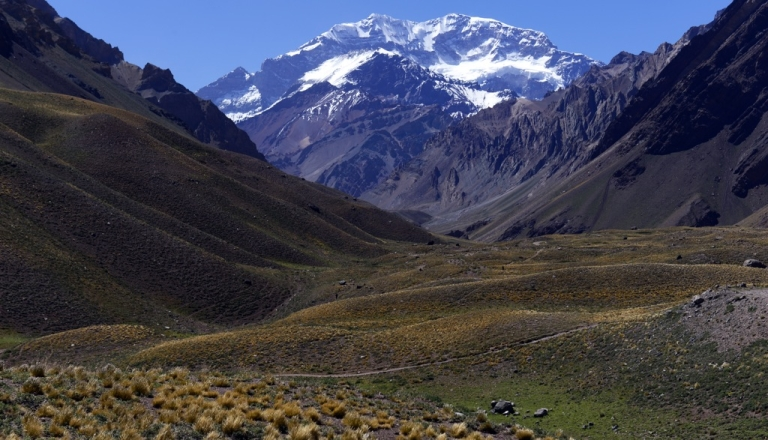 <p>The Aconcagua mountain in Argentina on February 2, 2013. A Uruguayan man was rescued from the Andes four months after becoming stranded there, Argentine media reported on Sept. 9, 2013.</p>