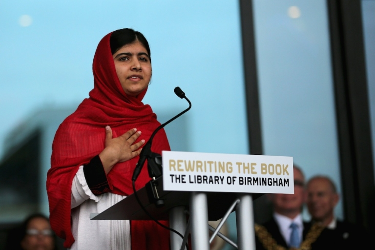 <p>Malala Yousafzai opens the new Library of Birmingham at Centenary Square on September 3, 2013 in Birmingham, England. The new futuristic building was officially opened by 16-year-old Malala Yousafzai who was attacked by Taliban gunmen on her school bus near her former home in Pakistan in October 2012.</p>