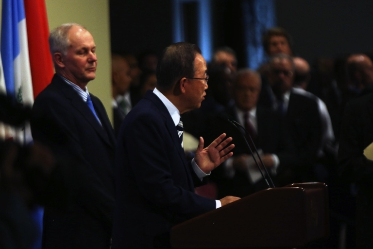 <p>United Nations Secretary-General Ban Ki-moon speaks to the media about the conclusion of the U.N. inspectors' report on chemical weapons use in Syria after a Security Council meeting at the United Nations headquarters on September 16, 2013 in New York City.</p>