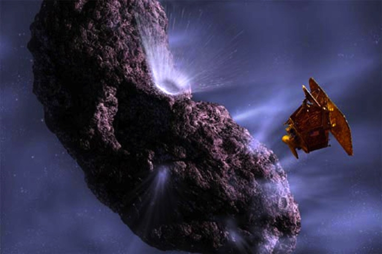 <p>This artist's impression shows the deep impact spacecraft as it fires an impactor into comet Temple 1.</p>