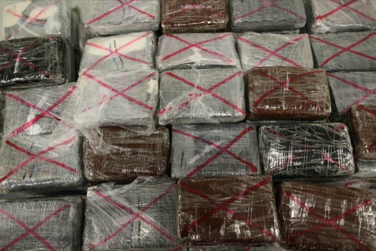 <p>A picture taken on September 21, 2013 in Nanterre, shows a part of the 1.3 tons of pure cocaine seized by French police.</p>