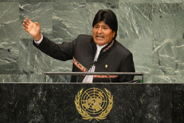 <p>Evo Morales, president of Bolivia, speaks during the 67th session of the United Nations General Assembly September 26, 2012 at UN headquarters in New York.</p>