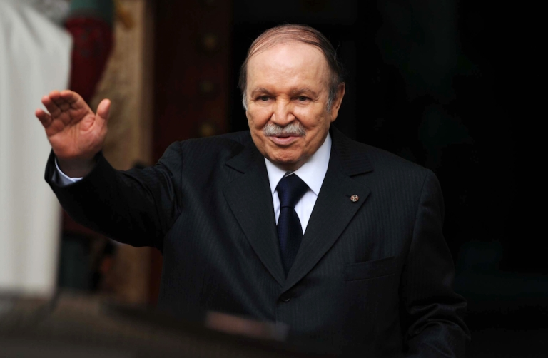 <p>A picture taken in January 2013 shows Algeria's President Abdelaziz Bouteflika gesturing outside the Djenane El Mufti residence ahead of a meeting in Algiers.</p>