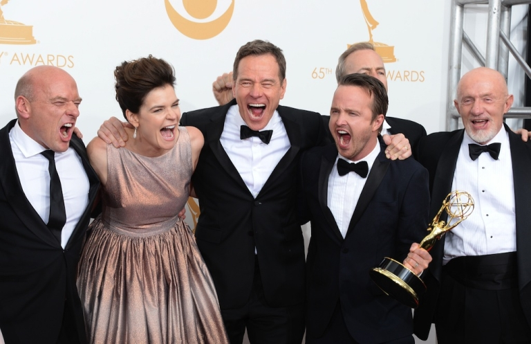<p>LOS ANGELES, CA - SEPTEMBER 22: (L-R) Actors Dean Norris, Betsy Brandt, Bryan Cranston, Aaron Paul, Bob Odenkirk and Jonathan Banks, winners of the Best Drama Series Award for 'Breaking Bad' pose in the press room during the 65th Annual Primetime Emmy Awards held at Nokia Theatre L.A. Live on September 22, 2013 in Los Angeles, California.</p>