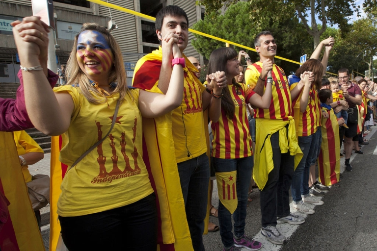 <p>Catalans join hands in Barcelona on Wednesday.</p>