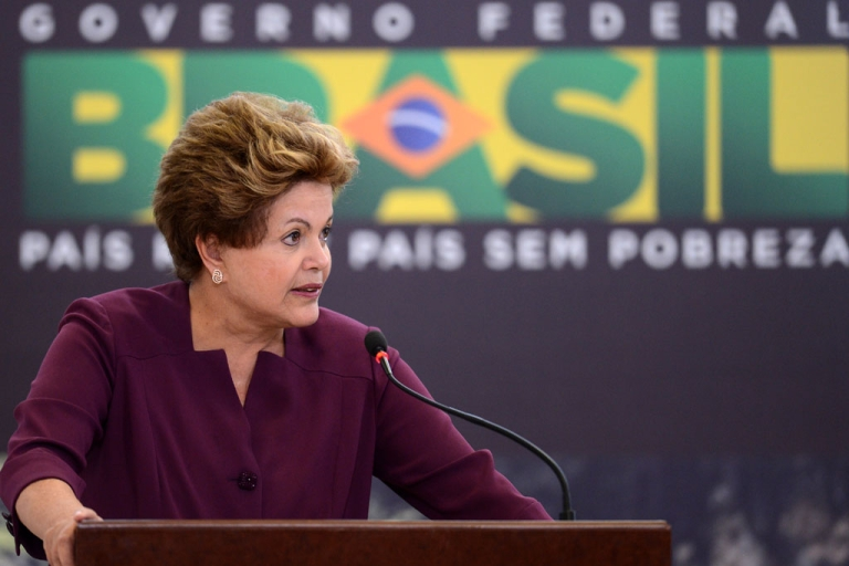 <p>Brazilian President Dilma Rousseff delivers a speech during a ceremony at Planalto Palace in Brasilia, on June 18, 2013.  Rousseff said on Sept. 4, 2013, she wants and explanation and public apology for alleged NSA spying on her private communications.</p>