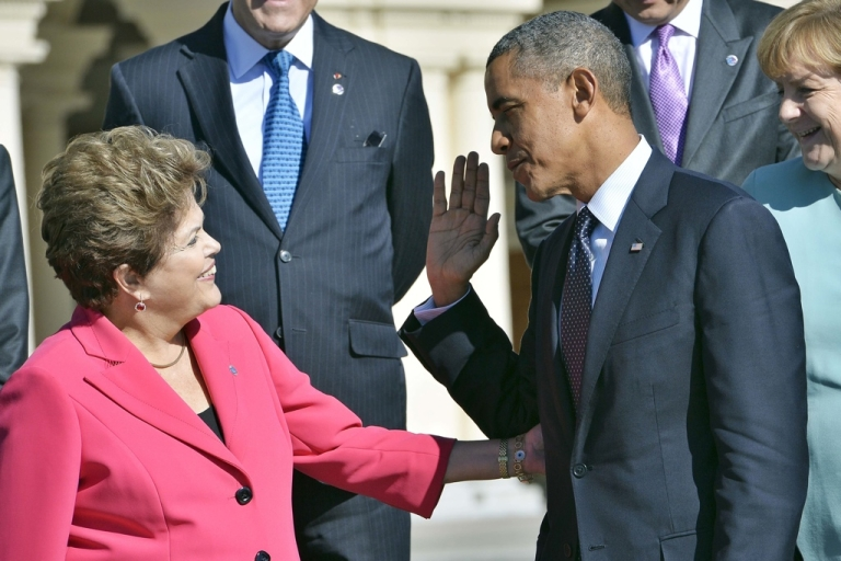 <p>Brazilian President Dilma Rousseff and Barack Obama at the G20 summit in Russia on Sept. 6. When will they meet next?</p>